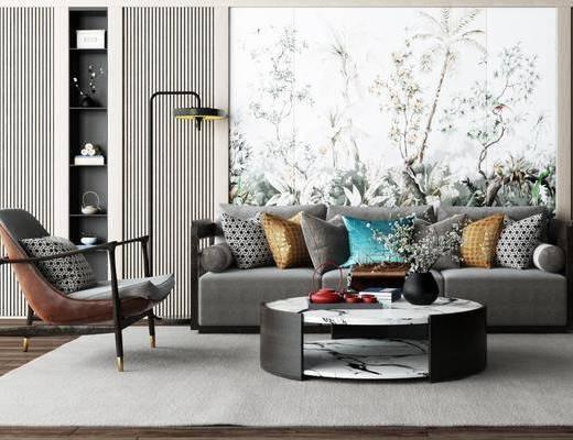 沙发, 茶几, 落地灯, 新中式