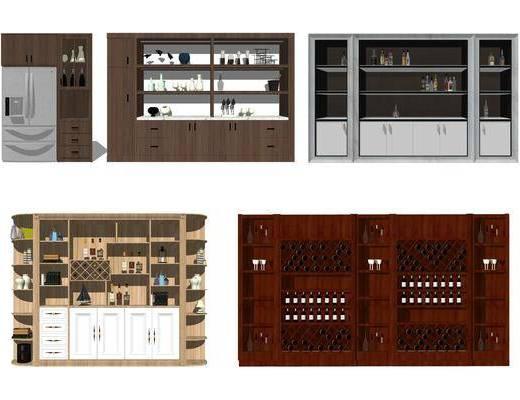 酒架, 红酒柜, 柜架组合, 酒瓶