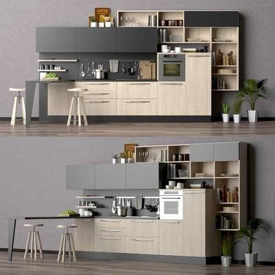 橱柜, 餐桌椅, 厨具, 餐具, 食物, 现代, 厨柜, 现代橱柜餐桌椅厨具餐具食物组合