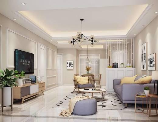 现代简约, 简约客厅, 沙发组合, 吊灯, 下得乐3888套模型合辑
