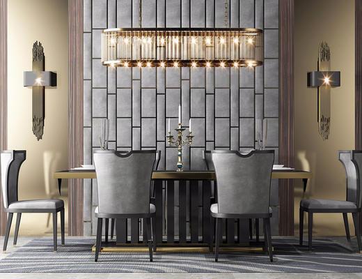 后现代, 桌椅组合, 吊灯, 烛台, 餐具组合