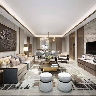 多人沙发, 单人沙发, 茶几, 边柜, 摆件, 装饰画, 台灯, 吊灯, 餐桌, 餐椅, 新中式