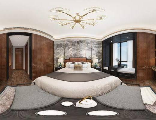 卧室, 双人床, 吊灯, 床头柜, 台灯, 书桌, 凳子, 新中式