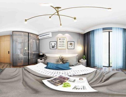 北欧卧室全景, 装饰画, 空调, 吊灯, 床头柜, 双人床, 台灯