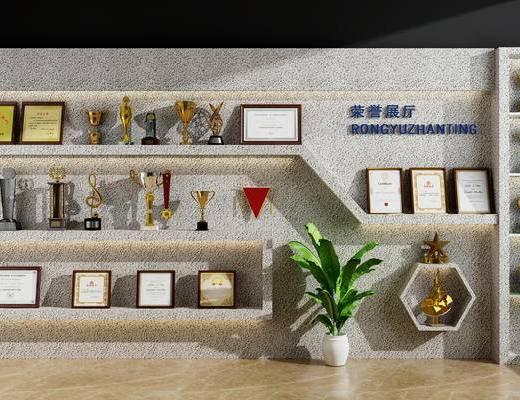 展厅, 荣誉墙, 奖杯, 奖牌