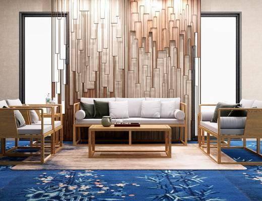 多人沙发, 单人沙发, 茶几, 边几, 新中式
