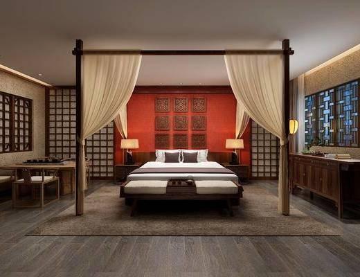 ?#39057;?#23458;房, 双人床, 床尾凳, 台灯, 落地灯, 边柜, 茶桌, 单人椅, 中式
