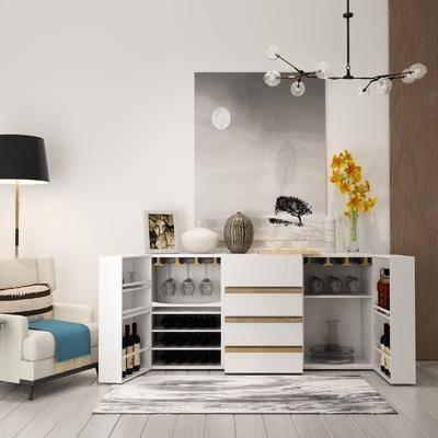 邊柜, 擺件組合, 置物柜, 單椅, 落地燈