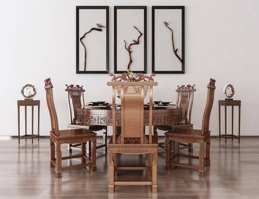 餐桌, 餐椅, 单人椅, 装饰画, 挂画, 装饰架, 摆件, 装饰品, 陈设品, 中式