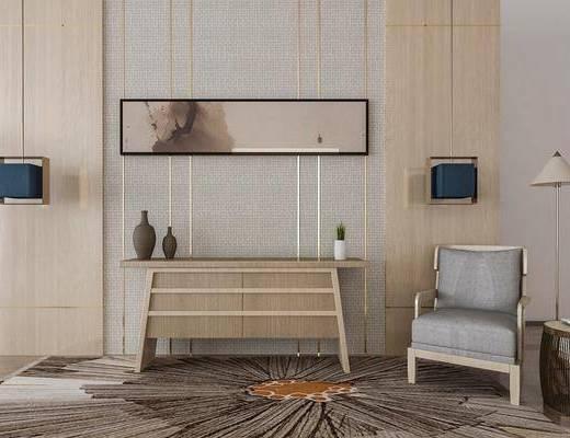 电视柜, 边柜, 单人沙发, 吊灯, 落地灯, 装饰画, 挂画, 中式