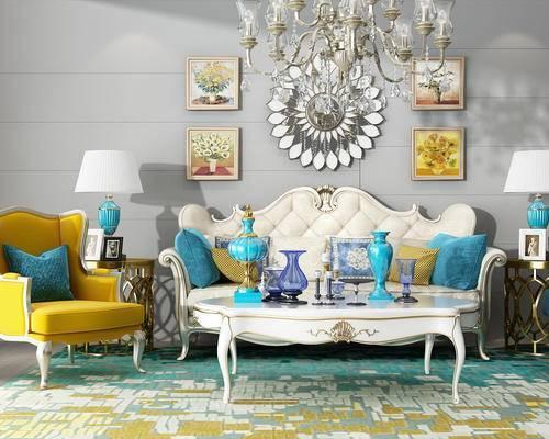 沙发组合, 灯具, 墙饰, 茶几, 挂画