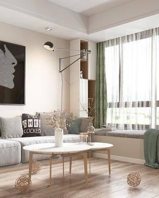 現代客廳, 現代廚房, 現代餐廳, 落地燈, 置物柜, 餐桌, 椅子, 沙發足額和, 茶幾, 吊燈