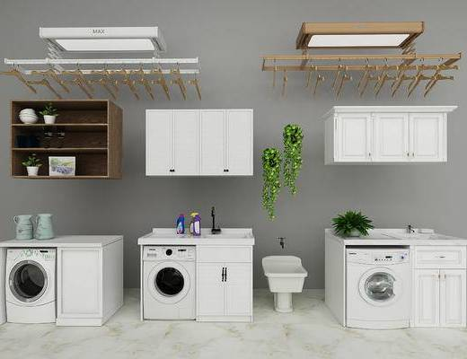 衣架, 洗衣机, 置物柜, 洗手盆, 现代