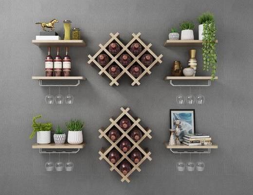 置物柜, 摆件, 盆栽, 墙饰