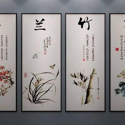 中式挂画, 中式装饰画, 中式水墨画