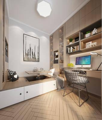 现代榻榻米卧室, 榻榻米, 办公桌, 书架
