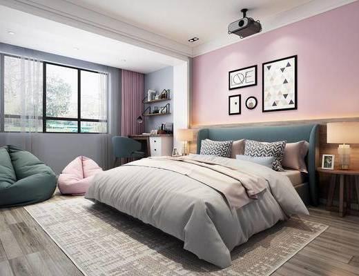 卧室, 北欧卧室, 女儿房, 公主房, 床, 书桌, 懒人沙发