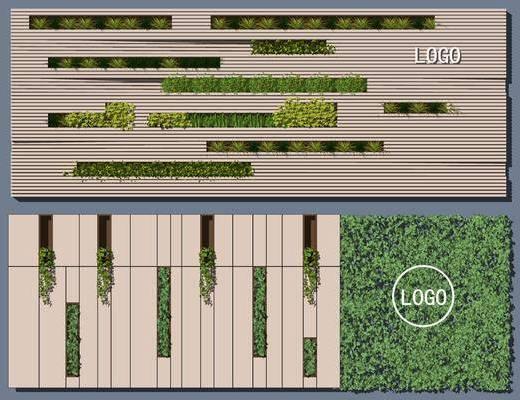 现代, 植物, 装饰墙