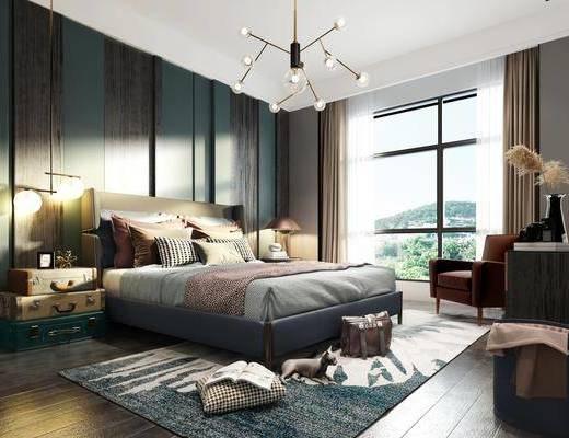 卧室, 双人床, 床头柜, 吊灯, 单人沙发, 边柜, 装饰柜, 装饰品, 陈设品, 现代简约