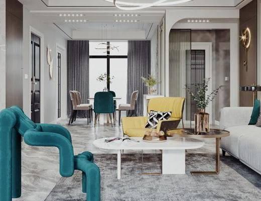 沙发组合, 茶几, 摆件组合, 单椅, 墙饰, 餐桌