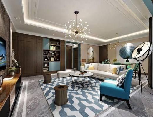 后现代客餐厅, 客厅, 沙发, 椅子, 茶几, 落地灯, 现代吊灯