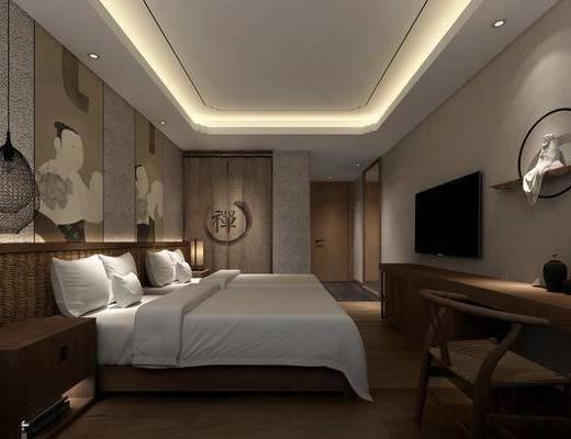 酒店客房, 双人床, 床头柜, 吊灯, 台灯, 书桌, 单人椅, 墙饰, 新中式