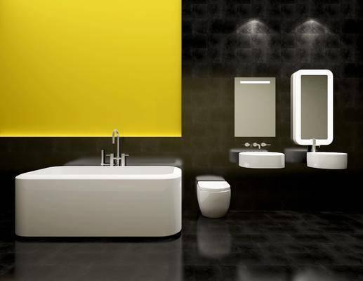 卫浴模型, 卫浴组合, 洗手台, 现代