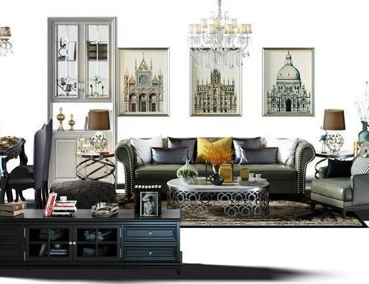沙发组, 餐桌椅组合, 餐桌, 桌椅, 桌椅组合, 酒柜, 电视柜, 画, 挂画, 装饰画, 组合画, 吊灯
