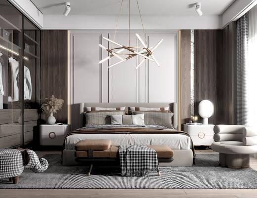 双人床, 床头柜, 台灯, 床尾踏, 衣柜, 吊灯