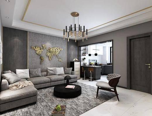 客厅, 餐厅, 客餐厅, 沙发组合, 桌椅组合, 沙发茶几组合, 餐桌椅, 吧台吧椅, 边柜, 吊灯, 厨房, 现代