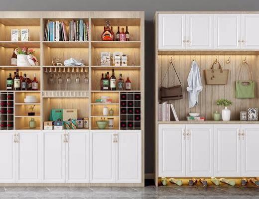 鞋柜, 酒柜, 现代鞋柜, 现代酒柜, 摆件组合, 装饰品, 现代