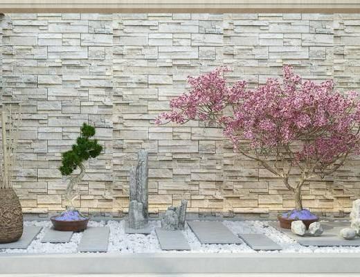 新中式花园, 新中式庭院, 假石, 盆栽, 新中式盆栽