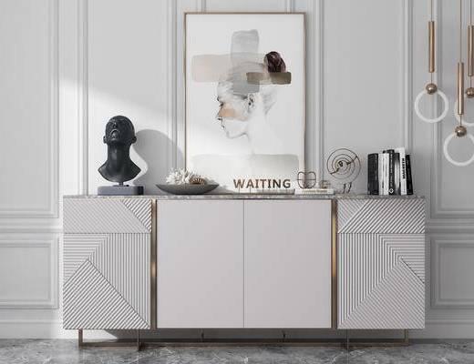 摆件, 雕塑, 装饰品, 挂画, 边柜, 柜架组合