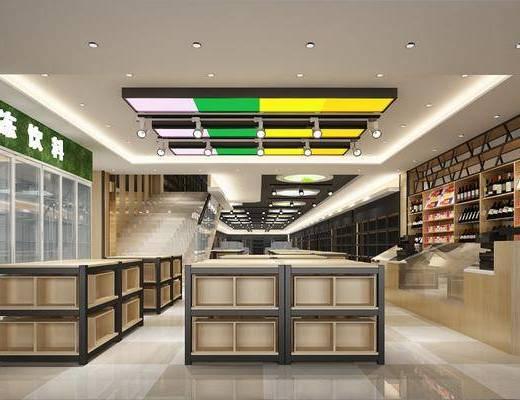 超市货架, 超市百货, 酒柜, 酒瓶, 楼梯, 射灯, 冰箱, 现代