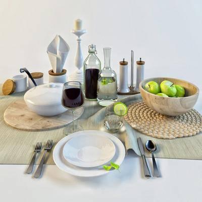 餐具, 杯子, 碟子, 碗, 水果, 刀, 叉, 勺, 现代