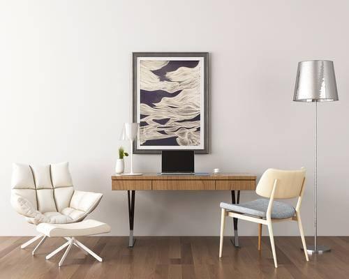 书桌, 办公桌, 办公椅, 落地灯, 挂画, 单人椅, 休闲椅, 摆件, 电脑, 现代