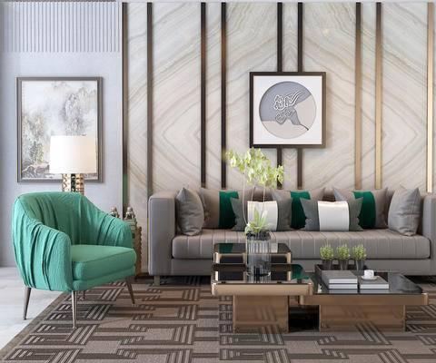 沙发, 台灯, 新中式沙发组合, 椅子, 中式画, 金属茶几