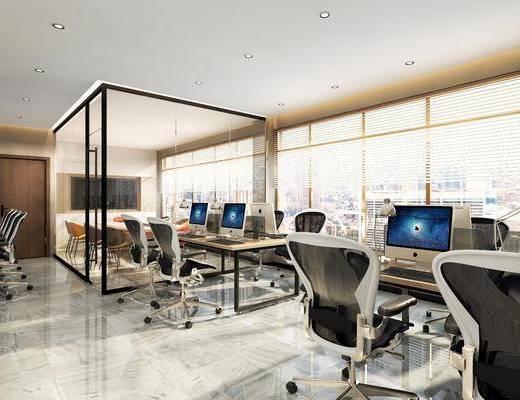 办公区, 电脑桌, 桌椅组合, 装饰画, 沙发组合, 茶几