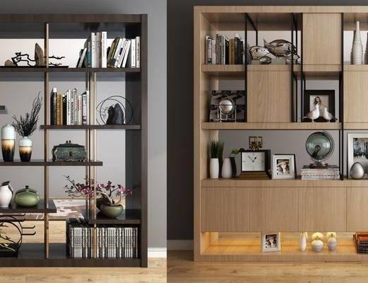 書柜, 裝飾柜, 書籍, 擺件, 現代