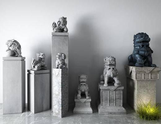 中式, 石狮子, 摆件