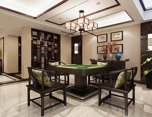 新中式, 棋牌室, 工装