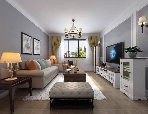 简美, 客厅, 家装