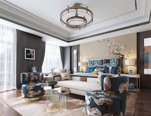 卧室, 双人床, 床头柜, 台灯, 吊灯, 床尾凳, 茶几, 单人沙发, 多人沙发, 装饰画, 挂画, 新中式