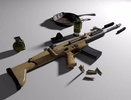 SCAR-L, 突击步枪, 子弹, 平底锅, 消音器