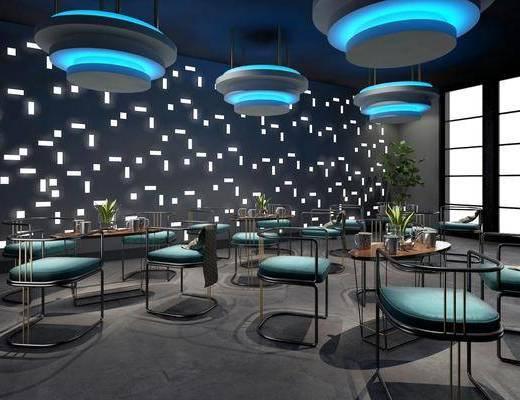 餐厅, 桌椅组合, 吊灯组合, 盆栽组合, 现代轻奢