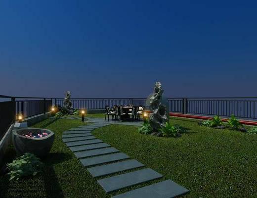 空中花园, 新中式空中花园, 植物, 草地