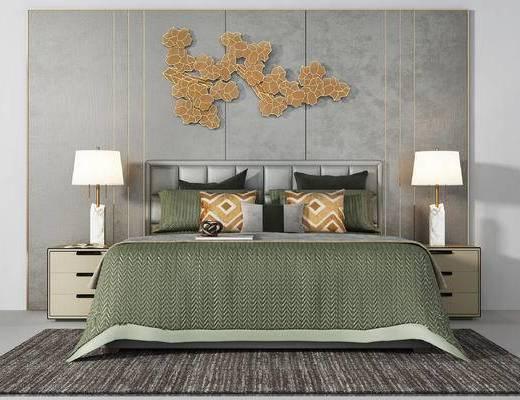 现代双人床, 床品组合, 床头背景, 墙饰, 床头柜, 台灯, 地毯, 抱枕