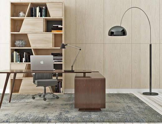 电脑桌, 桌椅组合, 落地灯, 置物柜