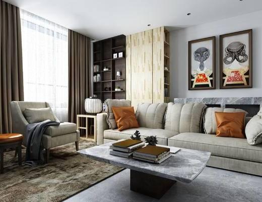 沙发, 沙发组合, 茶几, 装饰画, 书柜, 客厅, 装饰柜, 单椅