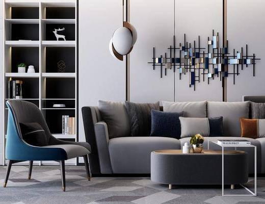 沙发组合, 茶几, 边几, 墙饰, 吊灯, 置物柜, 摆件, 装饰品, 单椅, 休闲椅, 现代, 现代沙发茶几组合, 双十一